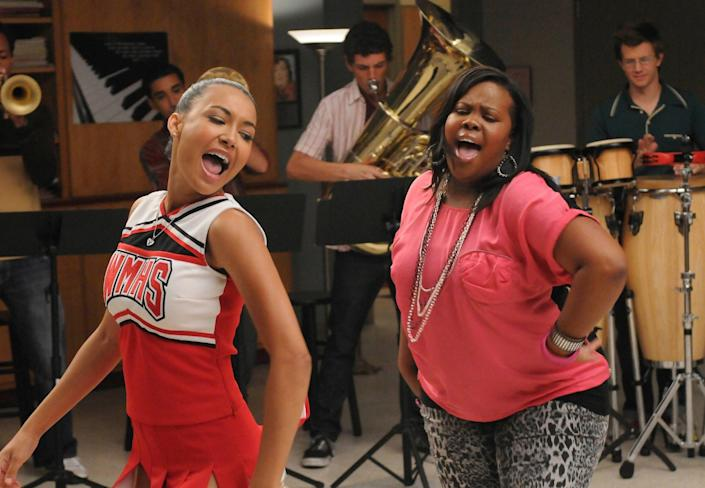 """Santana (Naya Rivera) and Mercedes (Amber Riley) perform """"River Deep, Mountain High"""" on """"Glee."""" <span class=""""copyright"""">(Fox Image Collection via Getty Images)</span>"""