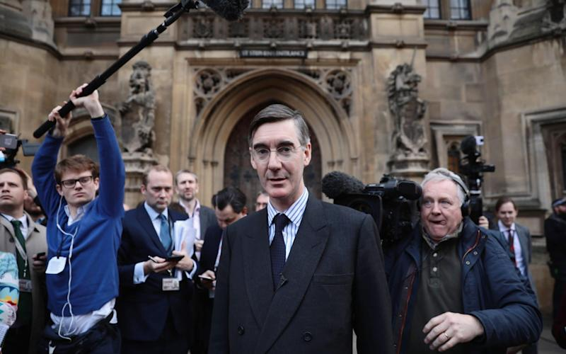 Jacob Rees-Mogg speaks to the media after submitting a letter of no confidence in Prime Minister Teresa May, outside the Palace of Westminster on November 15, 2018 - Getty Images Europe