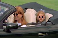 <p>A young Princess Beatrice looks stylish, as she rides around London in her mother, Sarah Ferguson's, convertible in 1996. Shout out to those chic sunglasses. </p>
