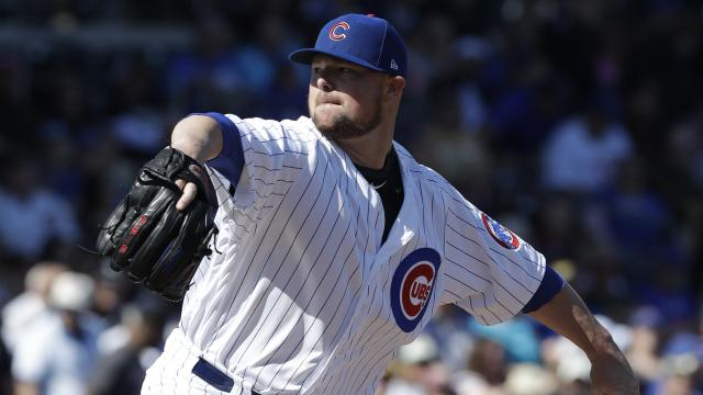 Jon Lester is working on a bounce pass to get over his throwing yips. (AP)