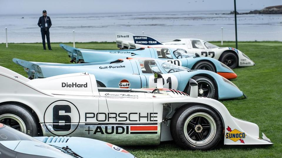 A collection of Porsche 917s at the 2021 edition of the Pebble Beach Concours d'Elegance. - Credit: Photo by Tom O'Neal, courtesy of Rolex.