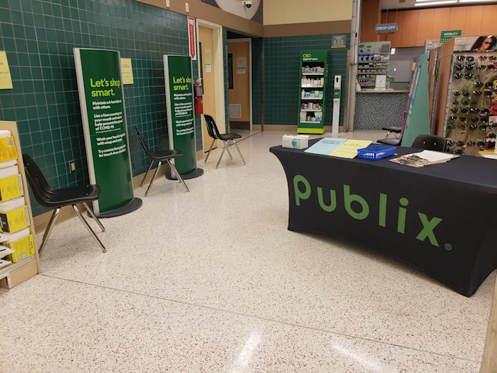 On Jan. 21, 2021, there is no line waiting for Moderna COVID-19 vaccines at a Publix pharmacy in Jensen Beach, Fla.