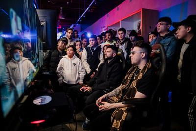 FaZe Clan superstars FaZe Temperrr and FaZe Adapt play head to head in NBA2K match at the SLAM x FaZe Clan Pop-Up Gaming Station presented by PLLAY.
