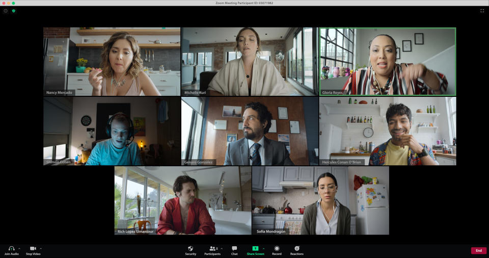 "El elenco de ""Home Office: un especial de Mirreyes contra Godínez"" en una imagen proporcionada por Amazon Prime Video. El especial se estrena el 18 de diciembre de 2020. (Amazon Prime Video via AP)"