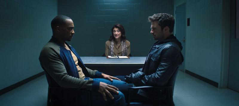 Anthony Mackie, Amy Aquino, and Sebastian Stan in The Falcon And The Winter Soldier