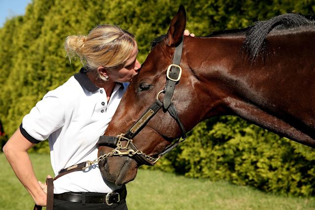 BALTIMORE, MD - MAY 17: Jennifer Patterson kisses Kentucky Derby winner Orb after the morning workout in preparation for the 138th Preakness Stakes at Pimlico Race Course on May 17, 2013 in Baltimore, Maryland. (Photo by Matthew Stockman/Getty Images)