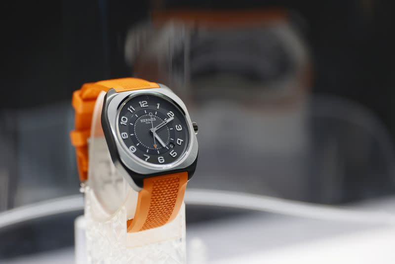 The HO8 model of Hermes is pictured during a media presentation at the Watches & Wonders in Geneva
