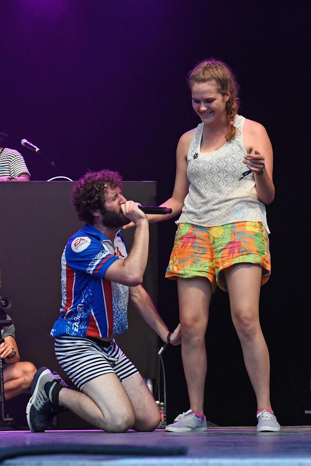 <p>Rapper Lil Dicky performs onstage with a fan during the 2017 Firefly Music Festival on June 16, 2017 in Dover, Delaware. (Photo by Kevin Mazur/Getty Images for Firefly) </p>
