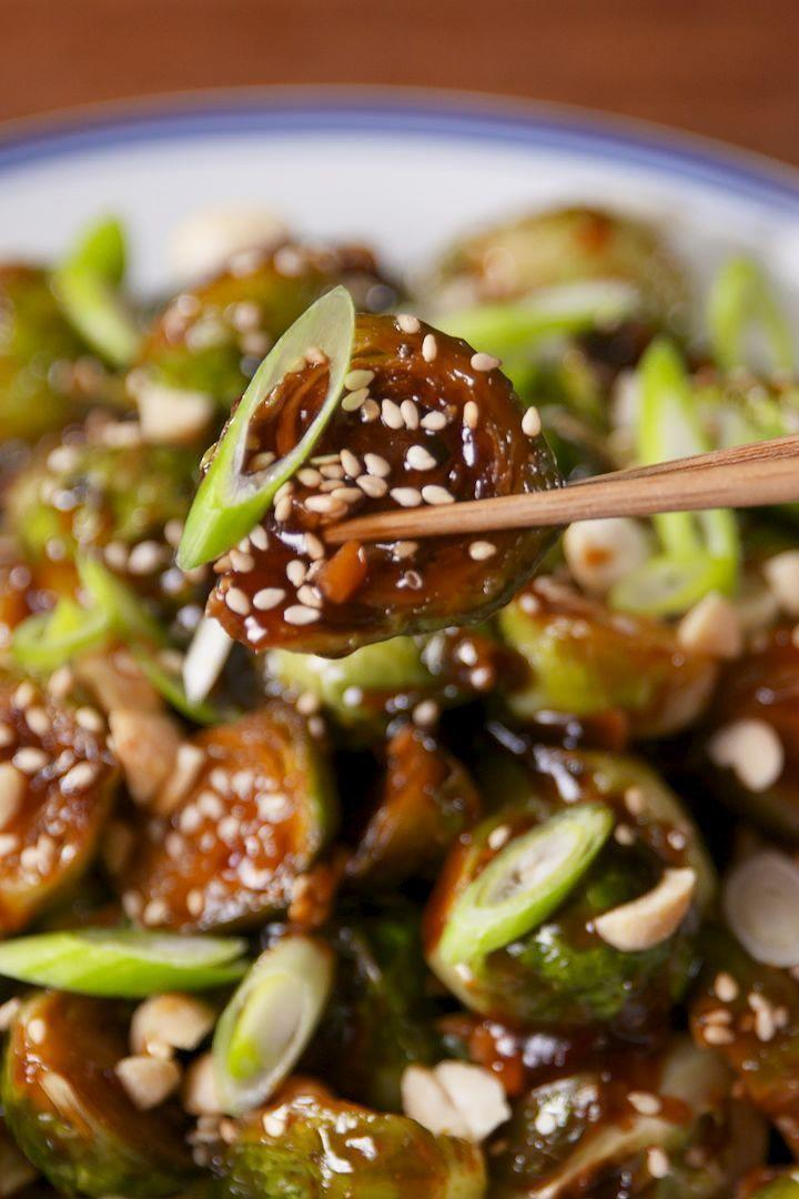 """<p>The kung pao sauce on these will turn everyone into a lover of <a href=""""https://www.delish.com/uk/cooking/recipes/a28934268/honey-balsamic-glazed-brussels-sprouts-recipe/"""" rel=""""nofollow noopener"""" target=""""_blank"""" data-ylk=""""slk:Brussels sprouts"""" class=""""link rapid-noclick-resp"""">Brussels sprouts</a>. </p><p>Get the <a href=""""https://www.delish.com/uk/cooking/recipes/a30747657/kung-pao-brussels-sprouts-recipe/"""" rel=""""nofollow noopener"""" target=""""_blank"""" data-ylk=""""slk:Kung Pao Brussels Sprouts"""" class=""""link rapid-noclick-resp"""">Kung Pao Brussels Sprouts</a> recipe.</p>"""