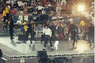 <p>Please note that the stage was still relatively simple back then. Like, if Michael Jackson weren't standing there, I'd assume this was a photo from my middle school pep rally. </p>