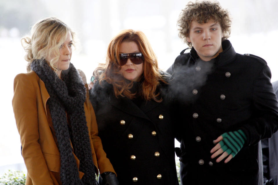 Lisa Marie Presley, with her children Riley and Benjamin Keough, at the 75th birthday celebration for Elvis Presley on Jan 8, 2010. Benjamin died at the age of 27 in July. (Nikki Boertman/Reuters)