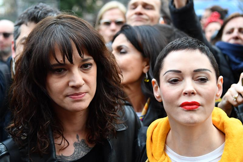 Asia Argento (pictured with fellow Weinstein accuser Rose McGowan in 2018) said she cried and celebrated after hearing the verdict. (Photo: ALBERTO PIZZOLI/AFP via Getty Images)