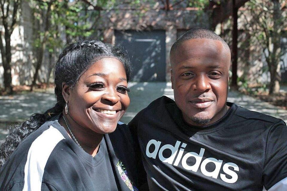 Jermaine Hudson, pictured with his fiancée, Latinya Darensbourg, won his freedom from a Louisiana prison in March 2021. (The Promise of Justice Initiative)