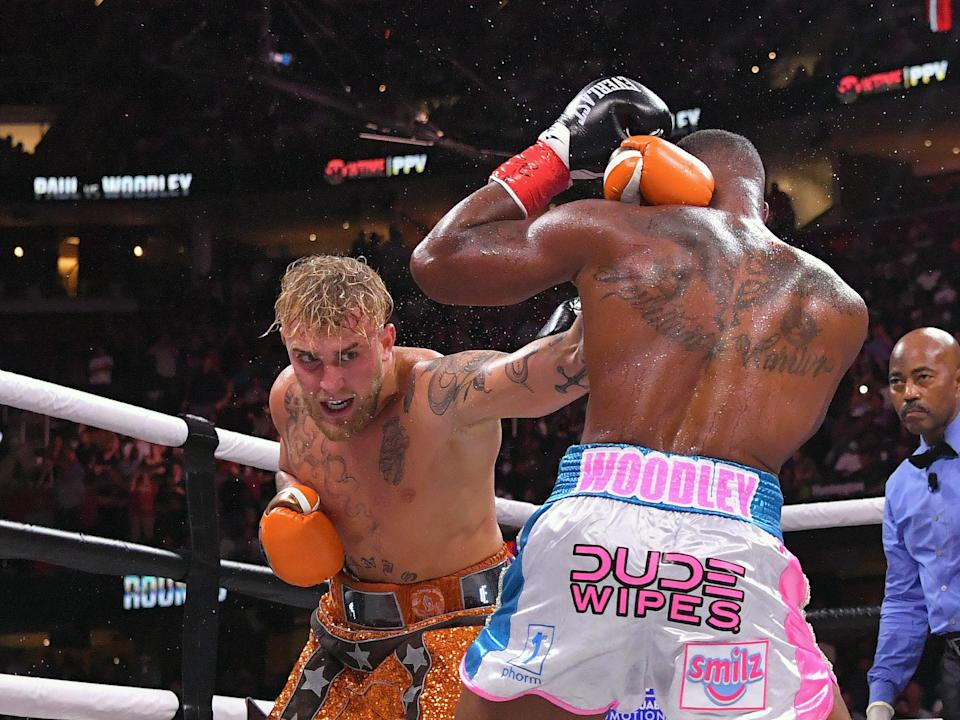 Jake Paul fights Tyron Woodley in their cruiserweight bout (Getty)