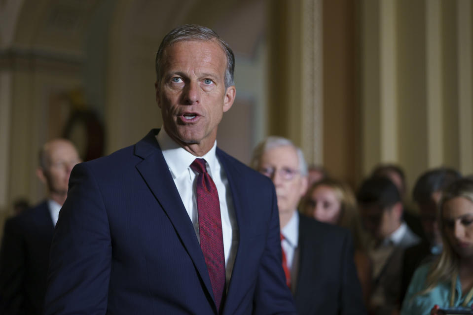 Senate Minority Whip John Thune, R-S.D., and the GOP leadership talk to reporters about progress on an infrastructure bill and voting rights legislation, at the Capitol in Washington, Tuesday, June 15, 2021. (AP Photo/J. Scott Applewhite)