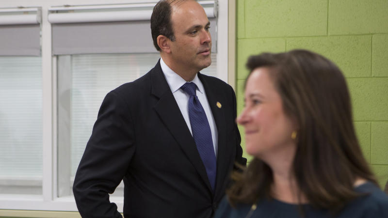 Republican David Yancey and Democrat Shelly Simonds shortly after the November election. (The Washington Post via Getty Images)