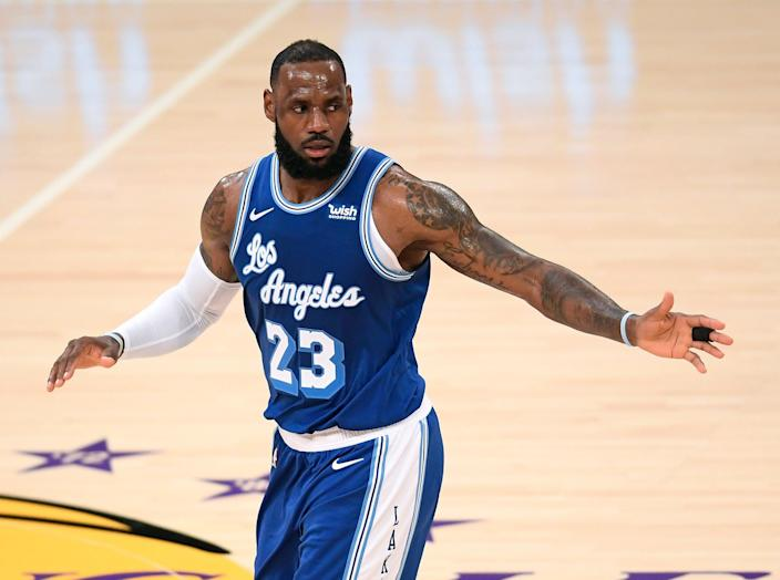 <p>LeBron James at Staples Center on 16 March, 2021 in Los Angeles</p> (Getty Images)