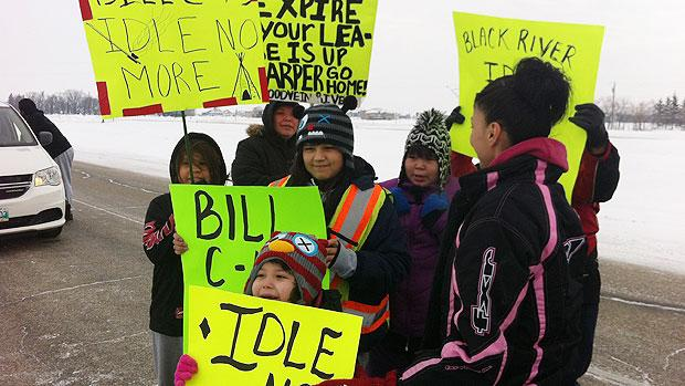 Young protesters alternately marched and drove from Bloodvein and Hollow Water First Nation to attend a protest in Winnipeg Monday.