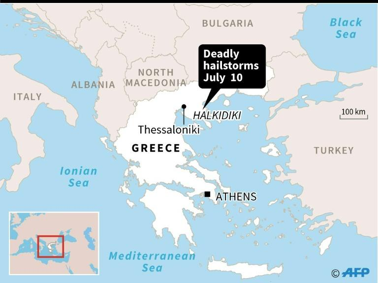 Map locating severe hailstorms in Greece on July 10