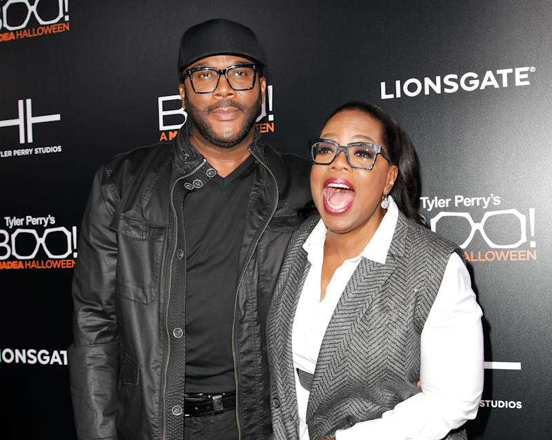 HOLLYWOOD, CA - OCTOBER 17: Tyler Perry and Oprah Winfrey attend the premiere of 'Boo! A Madea Halloween' at ArcLight Cinemas Cinerama Dome on October 17, 2016 in Hollywood, California. (Photo by Tibrina Hobson/Getty Images)