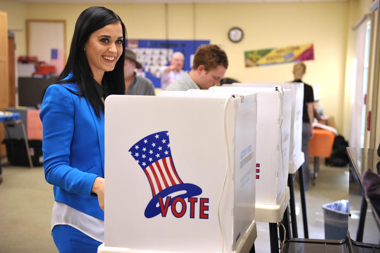 Singer Katy Perry casts her election ballot at a polling place in Los Angeles on Tuesday Nov. 6, 2012.  (Photo by John Shearer/Invision/AP)