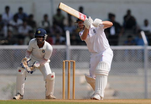 MUMBAI, INDIA - OCTOBER 31:  Jonathan Trott of England bats during the second day of the first practice match between England and India A at the CCI (Cricket Club of India) ground,  on October 31, 2012 in Mumbai, India.  England will play three practice matches before the start of four test series  (Photo by Pal Pillai/Getty Images)