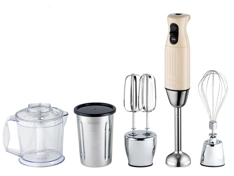 "<b>Dualit hand blender </b><br><br>If countertop space is tight and a hand blender is all you really need, make it a versatile one. Powerful enough for the job, but small enough to fit in the kitchen drawer, the Dualit comes with several different attachments, allowing you to blend soups, mash vegetables, froth milk and beat eggs. Use it direct in the pan or bowl or simply snap on the container or beaker. <br><br><b>£80, <a target=""_blank"" href=""http://www.heals.co.uk/kitchen-electrical/dualit-chrome-hand-blender-gift-pack/invt/880412?htxt=l8k7JkYqH6LqLZPnYMluLw%2BhASWPNyW1PTU20ULaa8qomDRlZjzLTm%2B9KqE6xrmGHjo%2BW3GiP9F8%0AnaNmjdKlLg%3D%3D"">Heal's</a></b><br>"