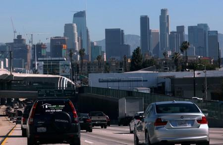 FILE PHOTO: Highway traffic travels into Los Angeles