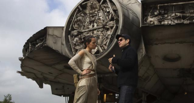 Daisy Ridley and J.J. Abrams on the set of <i>Star Wars: The Force Awakens.</i> (Photo: Lucasfilm)