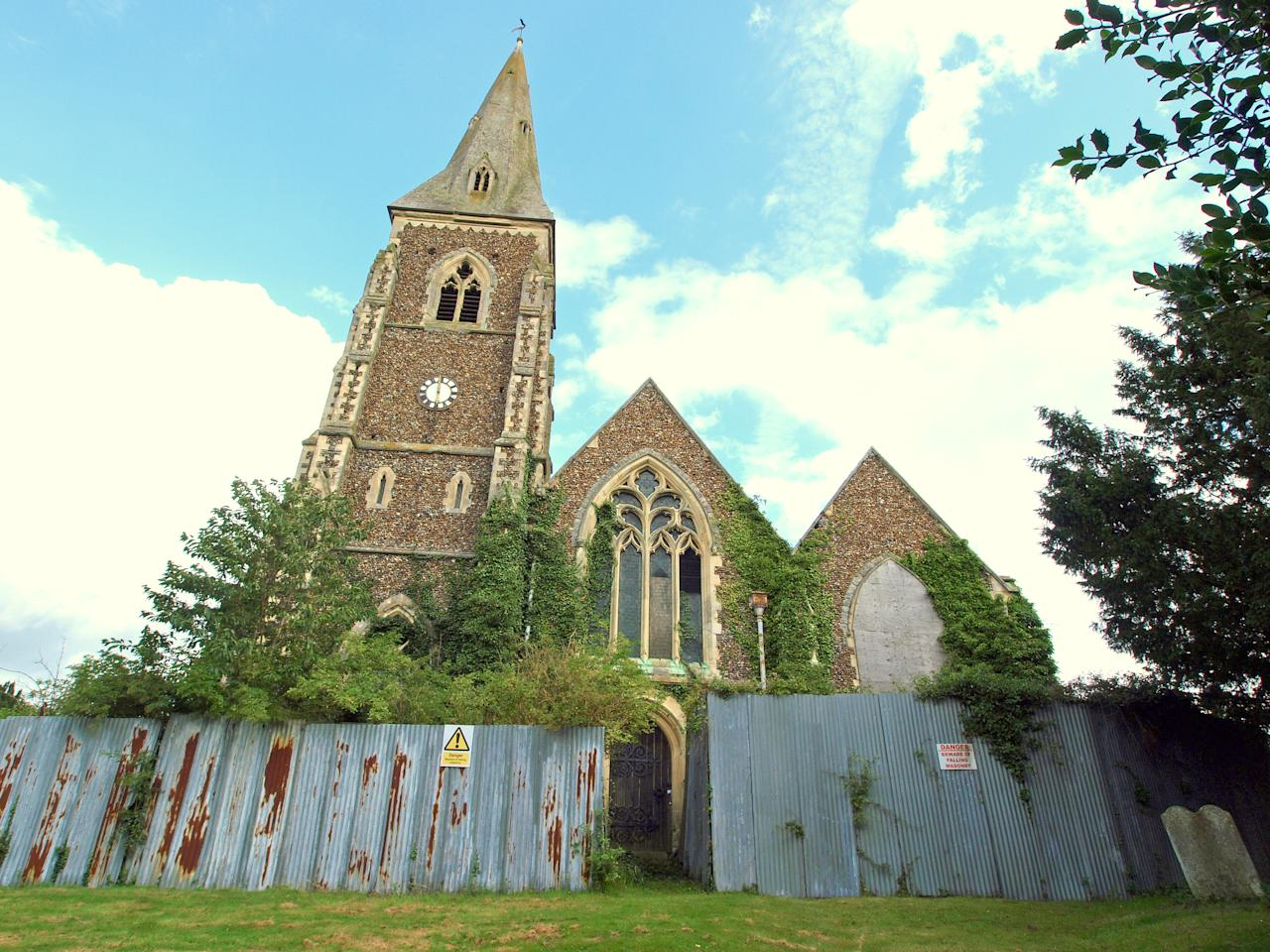 The listed church building, which was abandoned 20 years ago, now has rotting wooden floors, a crumbling exterior, and a weathercock which was damaged by a low-flying Chinook from a nearby base. (David Robarts/The Victorian Society)
