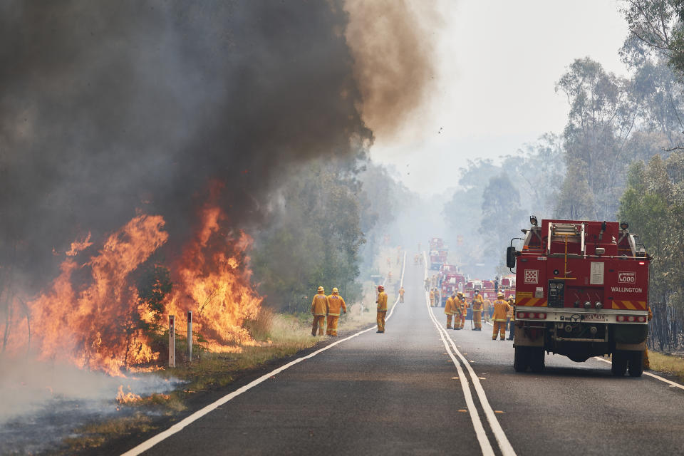 CFA Members work on controlled back burns along Putty Road.