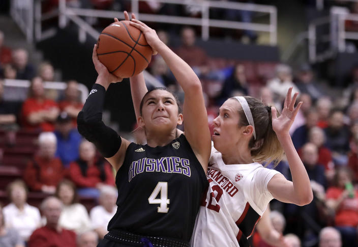Washington's Amber Melgoza (4) looks to shoot against Stanford's Lexie Hull, right, during the first half of an NCAA college basketball game Sunday, Jan. 5, 2020, in Stanford, Calif. (AP Photo/Ben Margot)