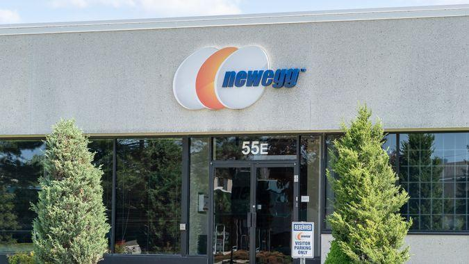 Richmond Hill, Ontario, Canada - June 03, 2019: Sign of Newegg Canada in Richmond Hill, Ontario, Canada, an online retailer selling computer hardware and electronics based in California.