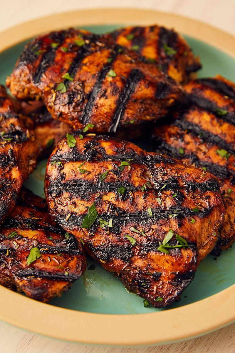 """<p>Grilled chicken breasts can be the epitome of boring. Too often they're dried out or rubbery. But when soaked in a super-quick marinade — with balsamic, brown sugar, and dried thyme — you're guaranteed deliciousness.</p><p>Get the <a href=""""https://www.delish.com/uk/cooking/recipes/a28841199/best-grilled-chicken-breast-recipe/"""" rel=""""nofollow noopener"""" target=""""_blank"""" data-ylk=""""slk:Grilled Chicken Breast"""" class=""""link rapid-noclick-resp"""">Grilled Chicken Breast</a> recipe.</p>"""