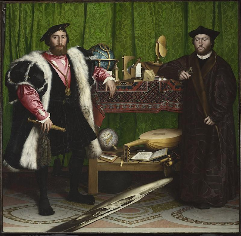 The Ambassadors (also known as Jean de Dinteville and Georges de Selve), 1533 by Hans Holbein the Younger