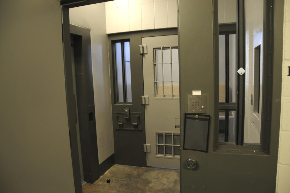 This undated photo provided by the Minnesota Department of Corrections shows a cell in the Administrative Control Unit at the Oak Park Heights, Minn., facility. This cell is similar to the cell that former Minneapolis police officer Derek Chauvin has been in since he was found guilty in April 2021, for the May 25, 2020, death of George Floyd. Chauvin will be sentenced Friday, June 25. (Minnesota Department of Corrections via AP)