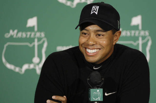 <p>Tiger Woods speaks to the media during a news conference at the Masters golf tournament at the Augusta National Golf Club in Augusta, Ga., Tuesday, April 7, 2009. (AP Photo/Chris O'Meara) </p>