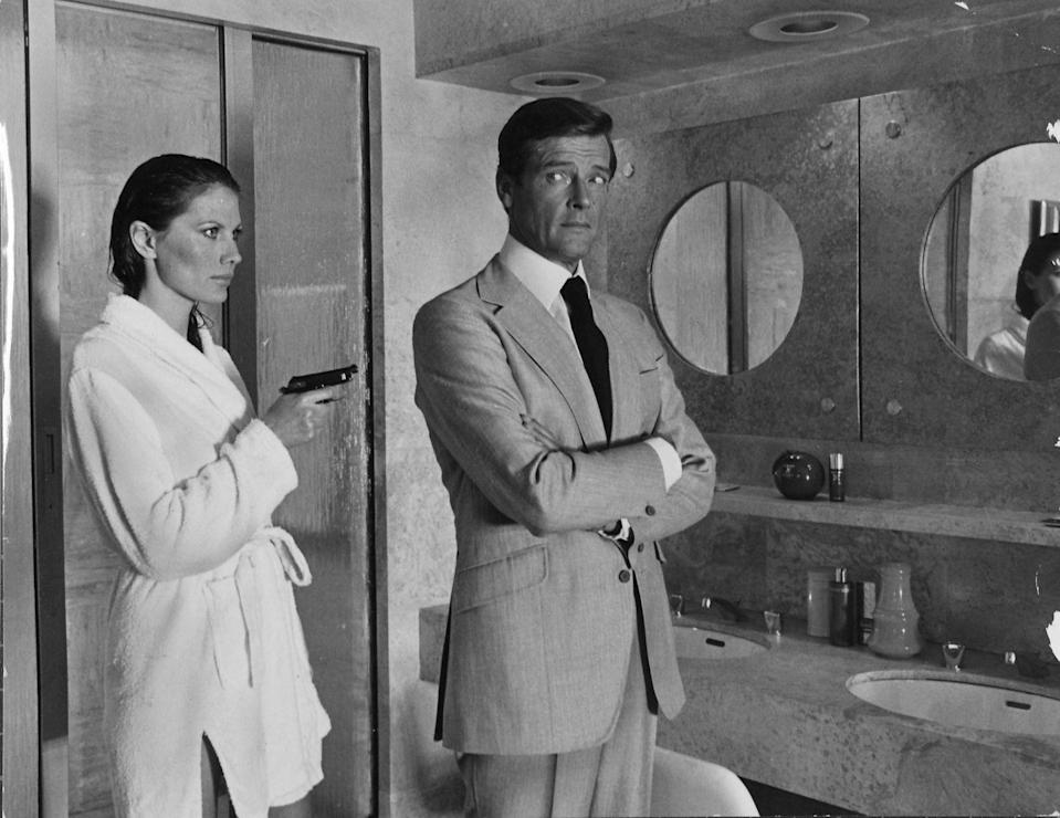 <p>Maud Adams and Roger Moore in 'The Man with the Golden Gun', 1974.</p>