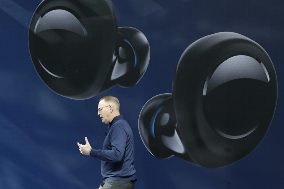 Dave Limp, senior vice president for Amazon devices & services, talks about Echo Buds, the tech company's new wireless earbuds product, Wednesday, Sept. 25, 2019, at an event in Seattle. (AP Photo/Ted S. Warren)