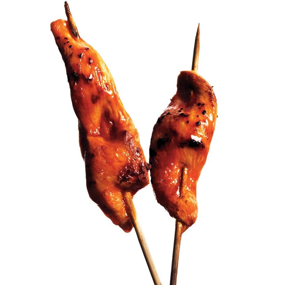 "Everything on a stick feels Halloween-y without being campy, and these buffalo chicken skewers are no exception. <a href=""https://www.epicurious.com/recipes/food/views/buffalo-chicken-dippers-51144450?mbid=synd_yahoo_rss"">See recipe.</a>"