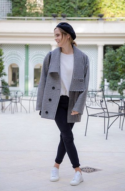 <p>Emma kick-started her promo tour in Paris. For day one, she kept warm in a Stella McCartney coat, a Flippa K jumper and a bespoke beret by Maison Michel. <em>[Photo: Instagram/The Press Tour]</em> </p>