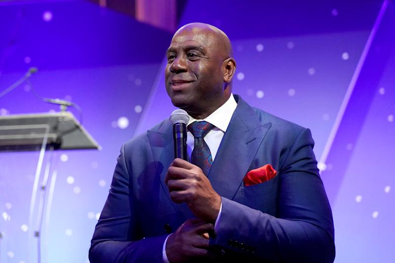 """Earvin """"Magic"""" Johnson delivers powerful remarks about courage and leadership during the 2019 Achilles International Gala."""