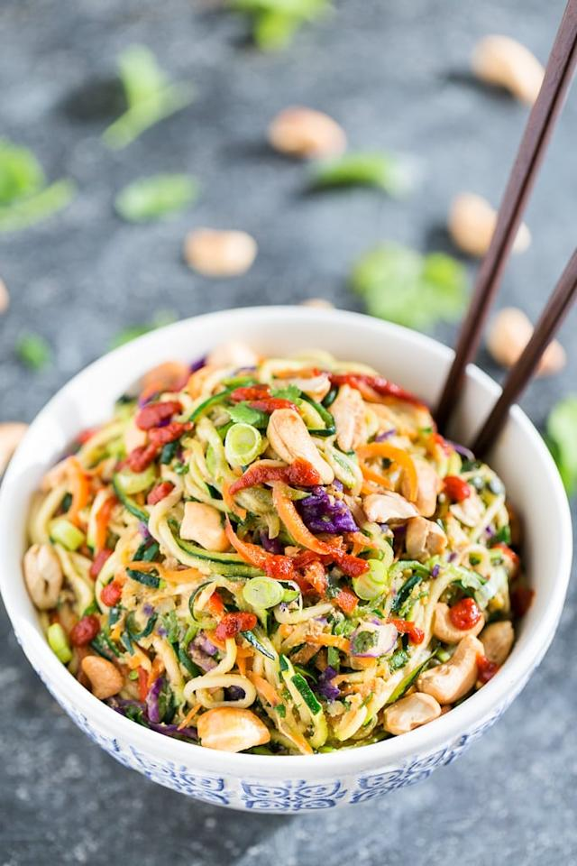 "<p>Carrots + bell peppers + zoodles, get the recipe <a href=""http://getinspiredeveryday.com/food/rainbow-veggie-dragon-noodles/"" target=""_blank"" class=""ga-track"" data-ga-category=""Related"" data-ga-label=""http://getinspiredeveryday.com/food/rainbow-veggie-dragon-noodles/"" data-ga-action=""In-Line Links"">here</a>. </p>"