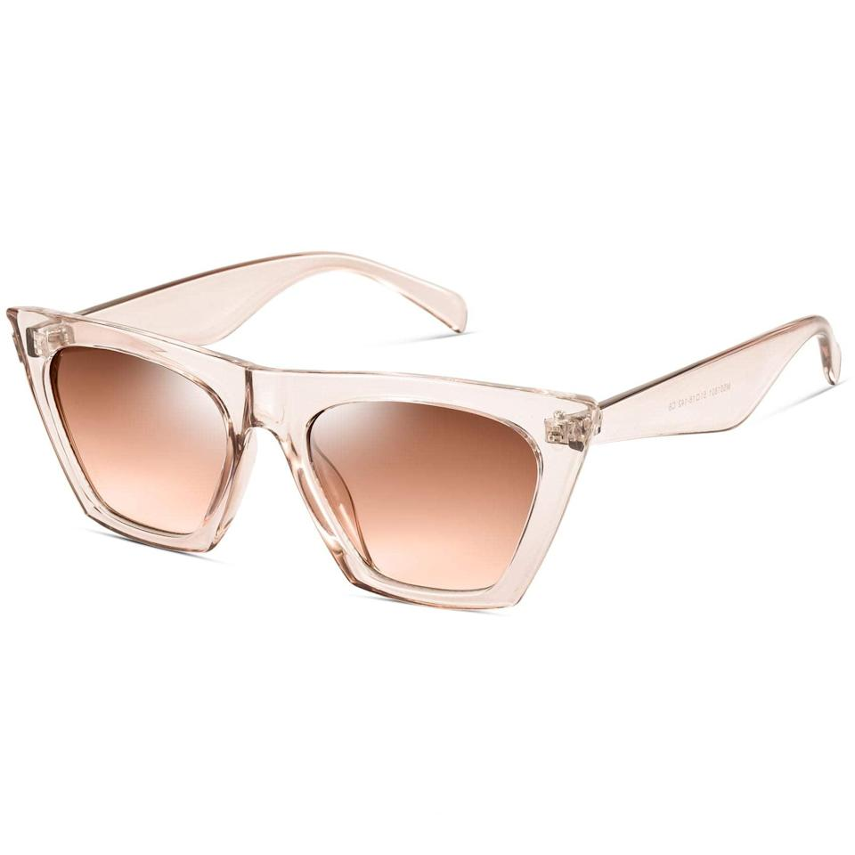 """<h2>Mosanana Square Cat Eye Sunglasses</h2><br>Stand out from the pack with this pair of translucent 'square' cat-eye sunnies. If you are into a more angular look, this is for you. <br><br><strong>The Hype:</strong> 4.5 out of 5 stars and 6,094 reviews<br><strong><br>What They Are Saying: </strong>""""I ABSOLUTELY LOVE THESE!! These are by far the best sunglasses I've purchased on Amazon! They are extremely sturdy and ARE UV protected. For some reason, I had been having the issue of buying glasses on amazon that said they were UV protected, and when I'd step outside id immediately get pain in my eyes and a headache, but with these, I don't!! Definitely recommended!!!!"""" - Ariana<br><br><em>Shop <strong><a href=""""https://amzn.to/3xpnHpp"""" rel=""""nofollow noopener"""" target=""""_blank"""" data-ylk=""""slk:Mosanana"""" class=""""link rapid-noclick-resp"""">Mosanana</a></strong></em><br><br><br><strong>Mosanana</strong> Mosanana Square Cat Eye Sunglasses for Women Trendy Style Model-SHINE, $, available at <a href=""""https://amzn.to/2RKlRQT"""" rel=""""nofollow noopener"""" target=""""_blank"""" data-ylk=""""slk:Amazon"""" class=""""link rapid-noclick-resp"""">Amazon</a>"""