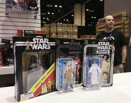 Star Wars products are lined up at the annual Star Wars Celebration where Walt Disney Co licensees are selling a new Luke Skywalker action figure, limited-edition Stormtrooper helmets and other coveted merchandise, in Orlando, Florida, U.S., April 14, 2017.  REUTERS/Zach Fagenson