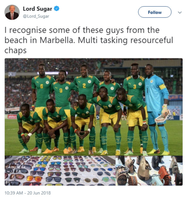 (Screenshot: @Lord_Sugar on Twitter)