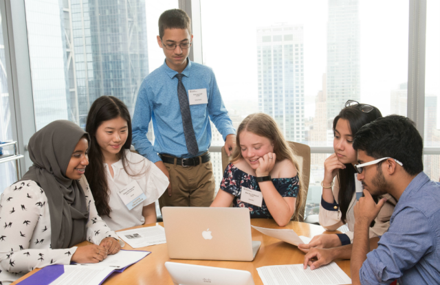 Teens gather at the New York Academy of Sciences Global STEM Alliance Summit. From left, Rajaa Elhassan, Robyn An, Evan Huff, Ellie Zillfleisch, Tavus Atajanova, and Aaryan Batra. (New York Academy of Sciences, Elena Olivo).