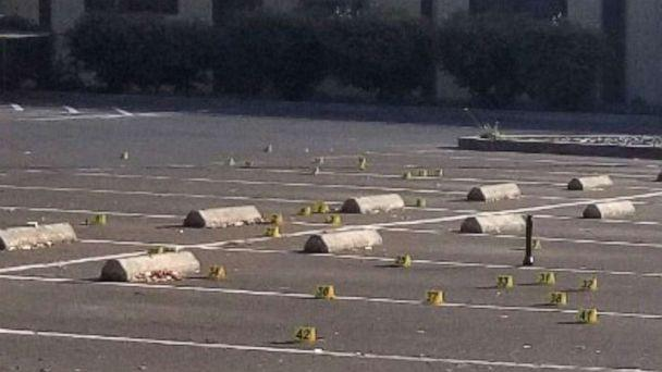 PHOTO: Crime scene evidence markers are seen in the parking lot of the Searles Elementary School in Union City, Calif., Nov. 23, 2019. (Union City Police Department)