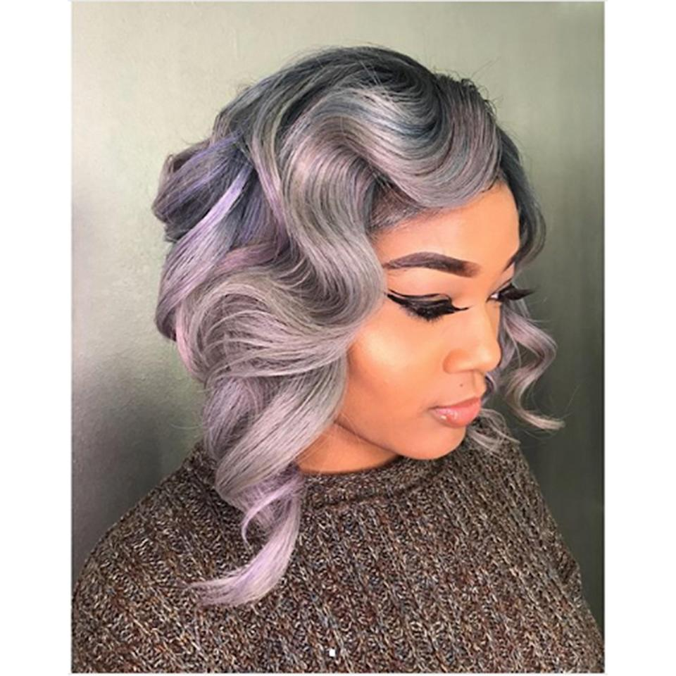 The iridescence of this look shines through its smoky, gray base.