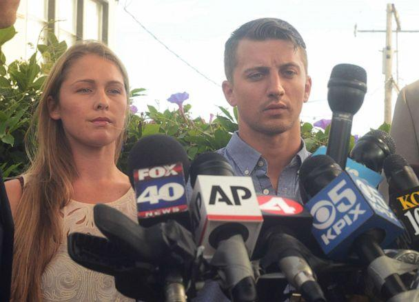 PHOTO: In this July 13, 2015, file photo, Denise Huskins and Aaron Quinn stand in silence during a press conference in Vallejo, Calif. (Vallejo Times Herald/MediaNews Group via Getty Images, FILE)